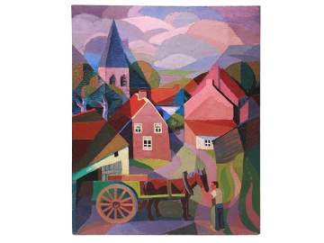 A RUSSIAN OIL PAINTING TOWN BY MARIE VASSILIEFF