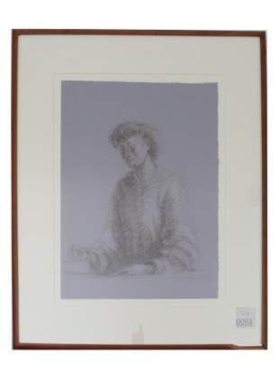 AN ANTIQUE PENCIL ON PAPER DRAWING OF A WOMAN
