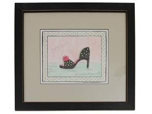 A FASHION WATERCOLOR PAINTING ON PAPER BY DOTTIE