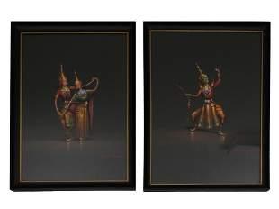 TWO VINTAGE PAINTINGS OF THAI DANCERS BY CHAROEN
