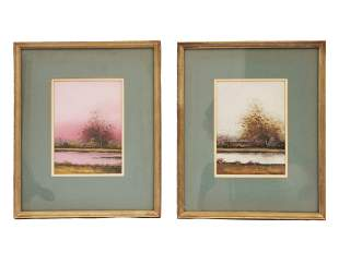 A SET OF TWO OIL ON BOARD PAINTINGS EARLY 20TH C