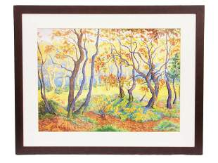 A VINTAGE PASTEL ON PAPER PAINTING