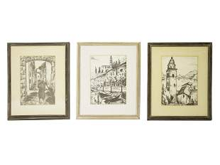 A SET OF THREE VINTAGE PENCIL DRAWINGS SIGNED