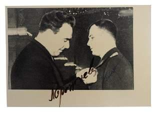 A SOVIET SIGNED PHOTO OF GAGARIN AND BREZHNEV