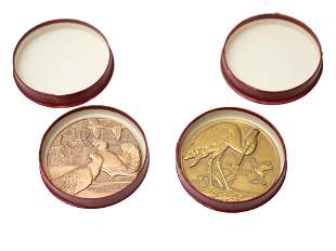 PAIR OF FRENCH BRONZE MEDALS BY JEAN VERNON CASES