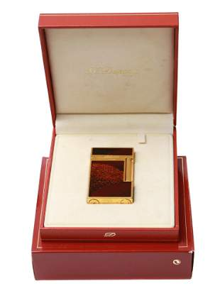 ST DUPONT GOLD CHINESE RED ONYX LACQUER LIGHTER
