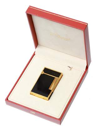 ST DUPONT GOLD CHINESE LACQUER BLACK ONYX LIGHTER