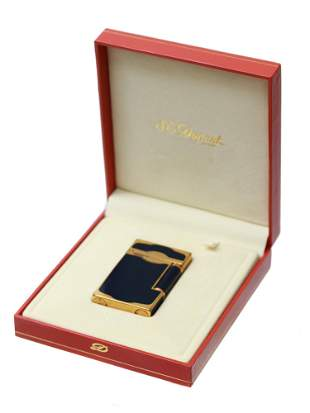 ST DUPONT GOLD CHINESE LACQUER BLUE ONYX LIGHTER