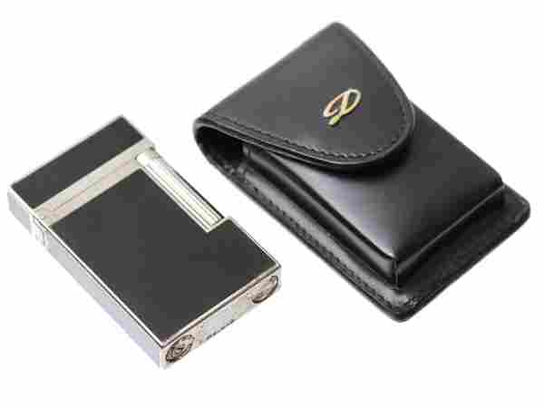 DUPONT SILVER CHINESE BLACK ONYX LACQUER LIGHTER