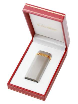 VINTAGE FRENCH CARTIER SILVER AND GOLD LIGHTER