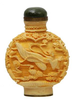 ANTIQUE CHINESE HAND CARVED SNUFF BOTTLE JADE TOP