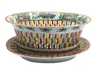 CHINESE EXPORT PORCELAIN BOWL AND TRAY 19TH C.