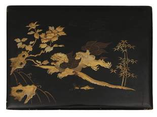 VINTAGE ASIAN CHINESE BLACK LACQUER BOARD FOO DOG