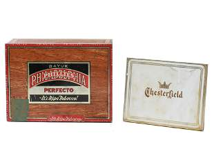 SET OF TWO CIGARETTE BOXES PHILLIES CHESTERFIELD