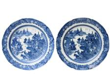 TWO ANTIQUE CHINESE PORCELAIN BLUE WHITE PLATES