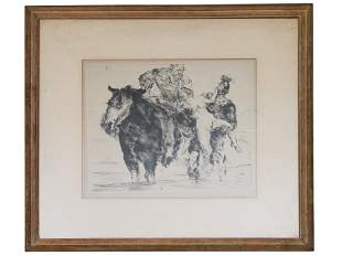 GERMAN DRYPOINT ETCHING ON PAPER BY LOVIS CORINTH