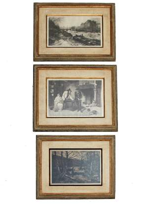 THREE ANTIQUE BLACK AND WHITE ETCHINGS ON PAPER