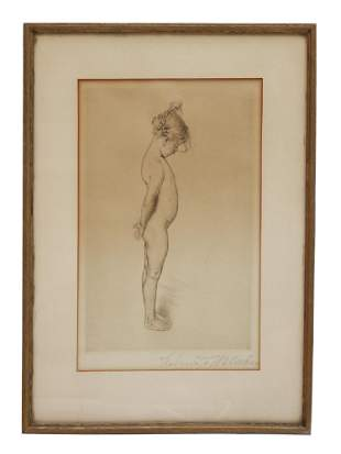 AN ANTIQUE SIGNED ETCHING OF A CHILD