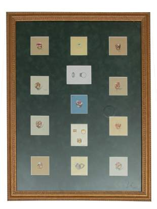 A VINTAGE PAINTING CARTIER JEWELRY DESIGN COLLAGE