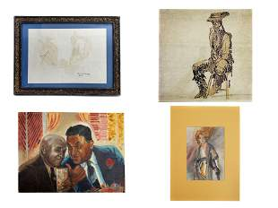 A LOT OF FOUR VINTAGE ARTWORKS