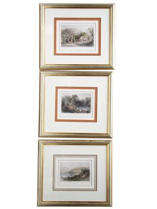 SET OF 3 HANDCOLOR ENGRAVING BY WILLIAM BARTLETT