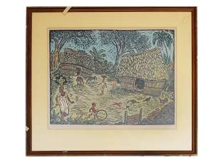 A MEXICAN COLOR WOODCUT ON PAPER BY ELIEZER CANUL