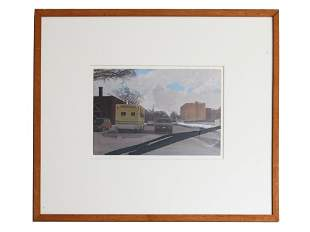 VINTAGE URBAN OIL PAINTING PAPER SIGNED BY CR