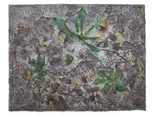 A VINTAGE MIXED MEDIA PAINTING CANVAS LEAVES
