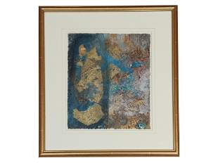 ABSTRACT MIXED MEDIA PAINTING ON PAPER GOLD LEAF