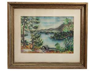 A LANDSCAPE WATERCOLOR PAINTING BY JOEL ROHR 1934
