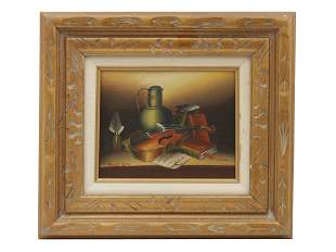 A FRANK LEAN OIL ON BOARD PAINTING