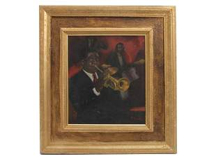 AN AMERICAN OIL PAINTING ON CANVAS JAZZ BY SMETH