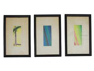 SET THREE ABSTRACT WATERCOLOR PAINTINGS ON PAPER