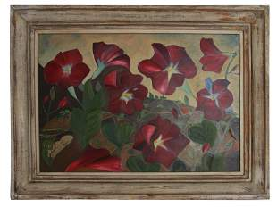 VINTAGE OIL PAINTING BOARD FLOWERS BY I M TACKEY