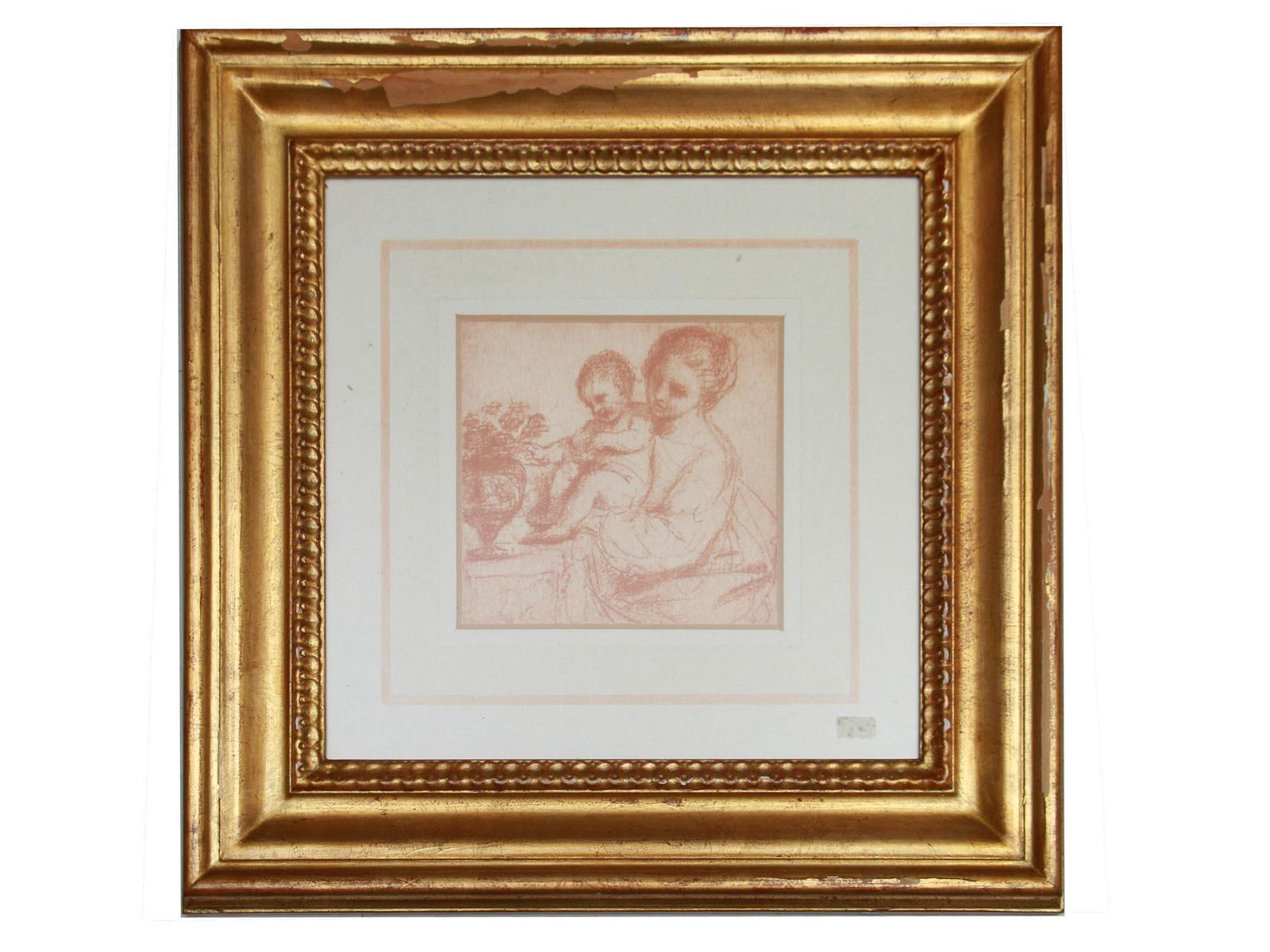 ITALIAN MADONNA W CHILD RED PENCIL PAINTING PAPER