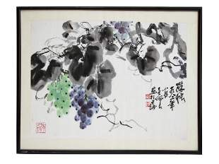 A VINTAGE CHINESE INK AND WATERCOLOR PAINTING