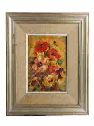 AN ORIGINAL OIL PAINTING ON CANVAS FLOWERS