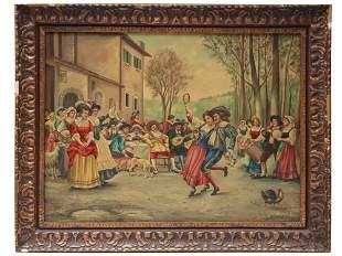 ANTIQUE OIL PAINTING FOLK DANCE SIGNED A TORRISI