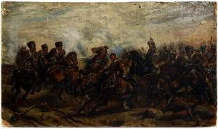 A SIGNED OIL ON CANVAS NAPOLEONIC WARS PAINTING