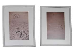 A PAIR OF SAND PHOTOGRAPHS INTERIOR DESIGN FRAMED
