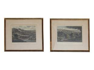 19TH ENGLISH PAIR OF ENGRAVINGS PAPER BY BRANNON