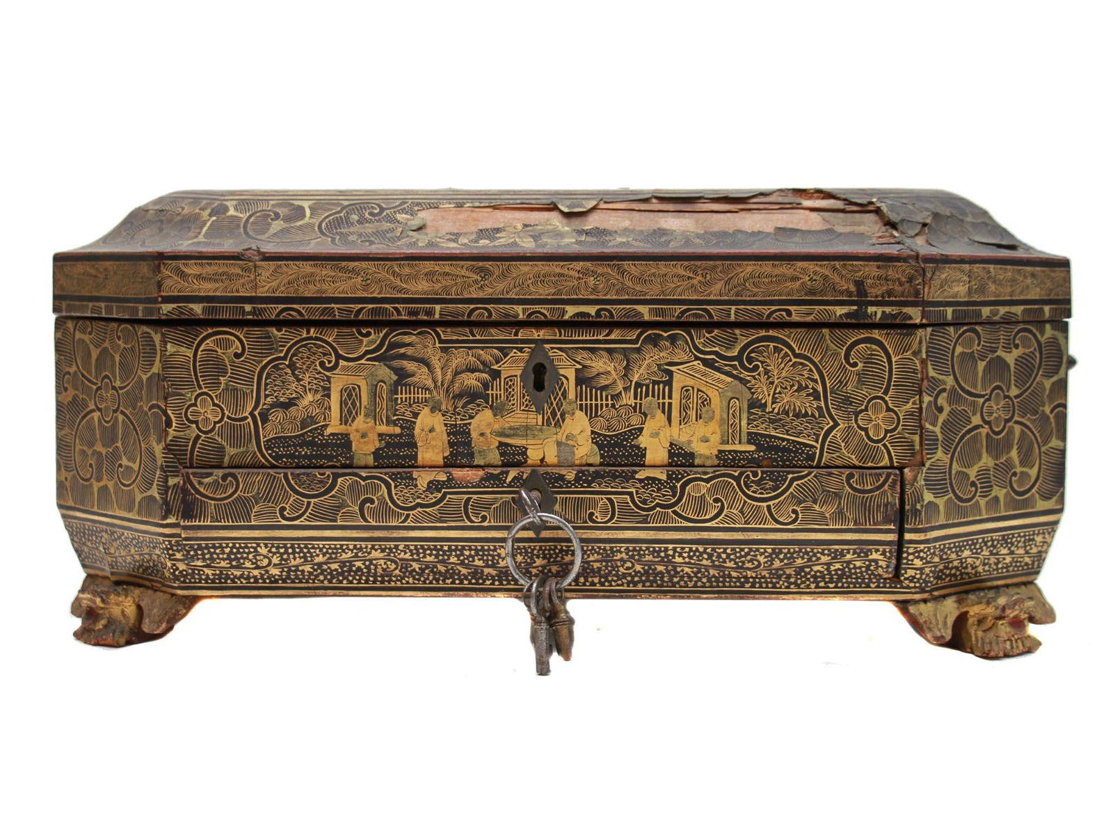 AN ANTIQUE CHINESE LACQUERED SEWING BOX 19TH C.