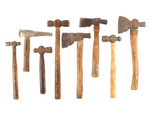 A LOT OF 8 VINTAGE AXES AND HAMMERS RED DIAMOND