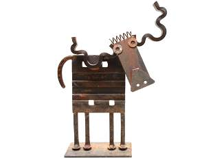 AMERICAN WELDED IRON COW SCULPTURE BY BILL HEISE