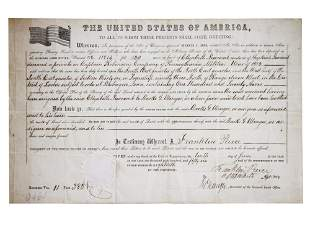 AMERICAN DOCUMENT SIGNED BY FRANKLKIN PIERCE 1856