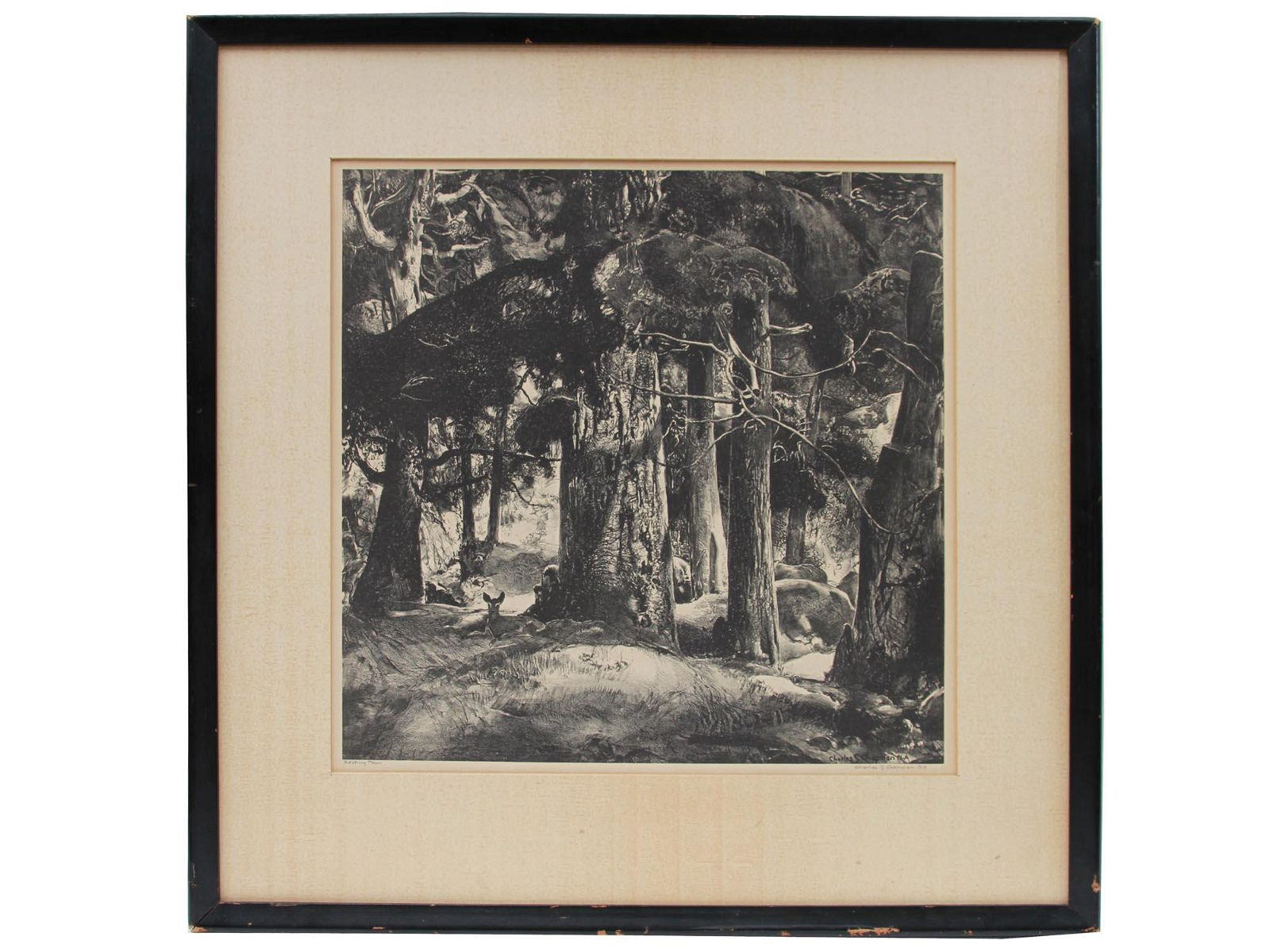 AMERICAN LITHOGRAPH FAWN BY CHARLES S CHAPMAN