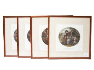 FOUR HANDCOLORED ENGRAVINGS BY FRANCIS WHEATLEY