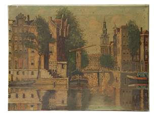 DUTCH OIL PAINTING VIEW SIGNED BY TH VAN MELSBURG