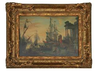 ANTIQUE AMERICAN J. CLARK OIL ON BOARD PAINTING
