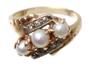 ANTIQUE JEWELRY 14K GOLD RING WITH PEARL